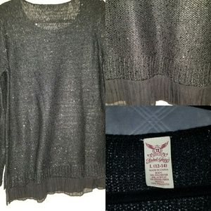 Faded Glory Size L black long sweater